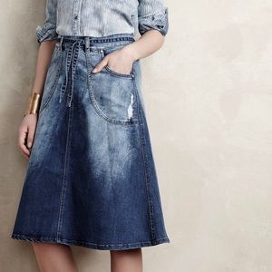 Pilcro and the Letterpress Denim Midi Skirt A-line